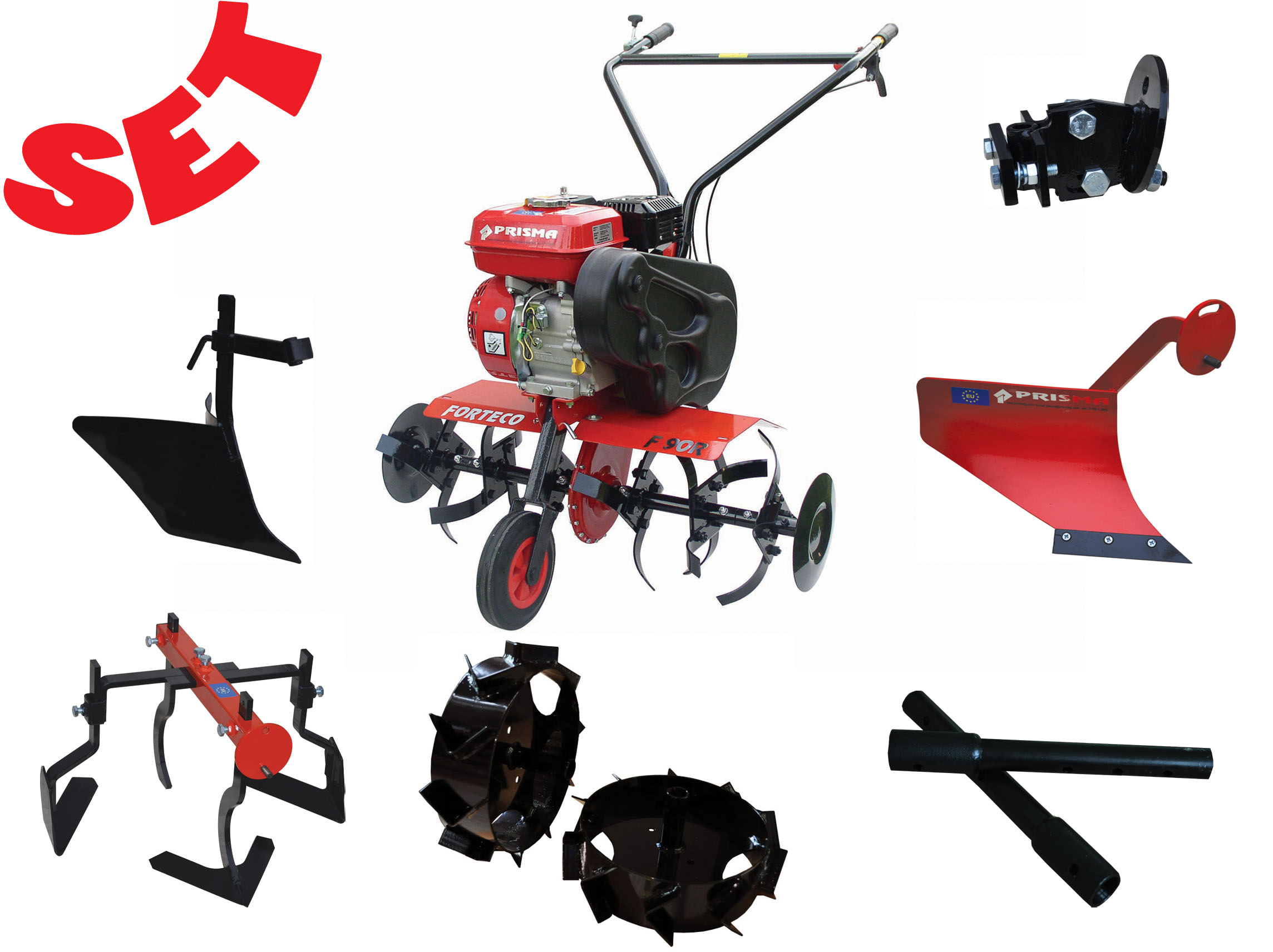 Tiller and equipment, garden attachments